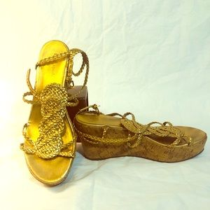 Kate Spade 3 Inch Gold Wedges, Size 9M